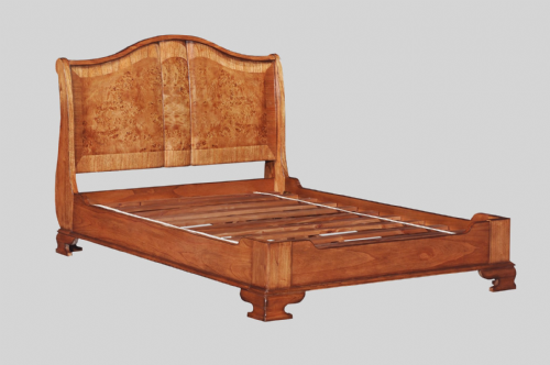 Sleigh Bed with Low Footend in Burr Walnut